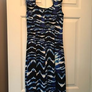 Black and blue form fitted dress